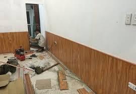 mẫu ốp chân tường gỗ, thi công vách gỗ công nghiệp,